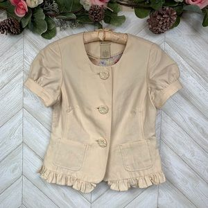 Anthropologie | Elevenses Cream Crop Blazer Size 4